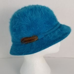Teal Angora Blend Cloche Hat with Feather